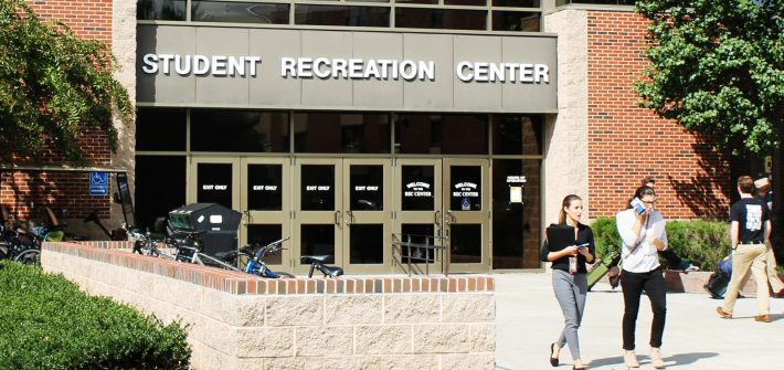 students leave the Recreation Center
