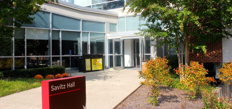 front doors of Savitz Hall