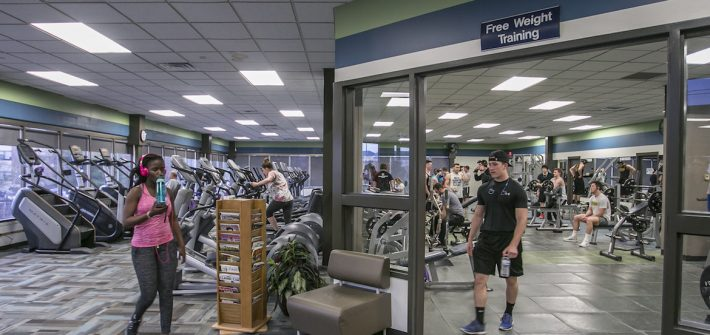 students working out in rec center
