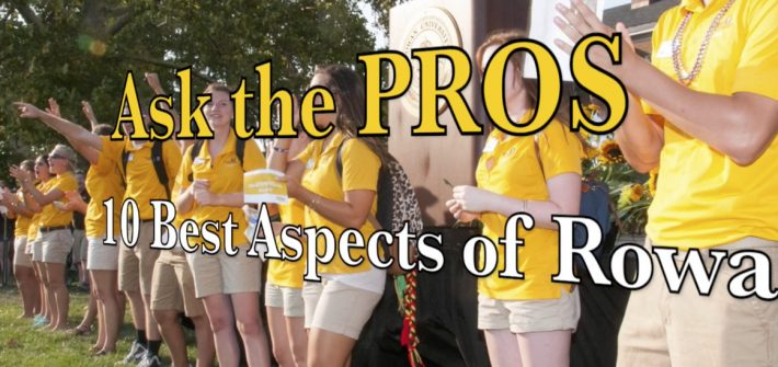 line of PROS wearing yellow shirts welcome new students