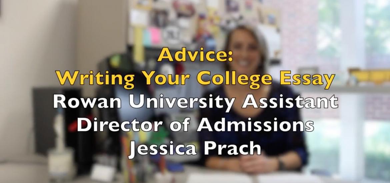 Screenshot of beginning frame of College Essay Advice video.