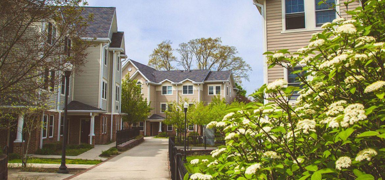 townhouses along walkway