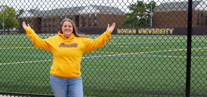 Maribeth outside the Rowan field