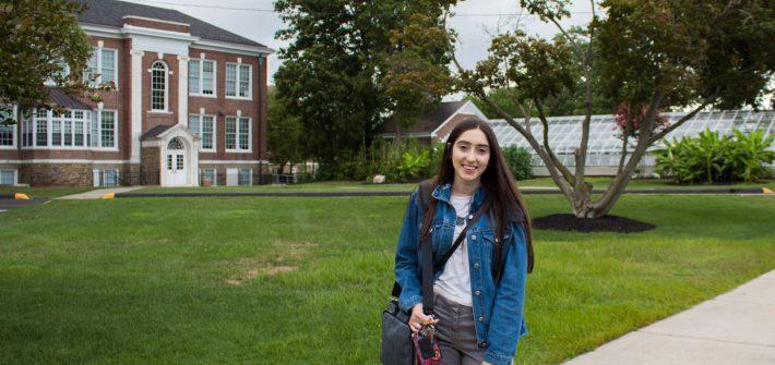 Rowan University commuter, Nicole, outside Bunce Hall