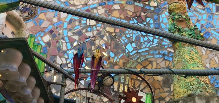 A view of the mosaic glass ceiling at Magic Gardens