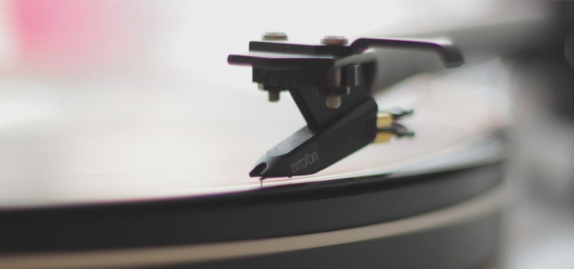 a music record on a record player