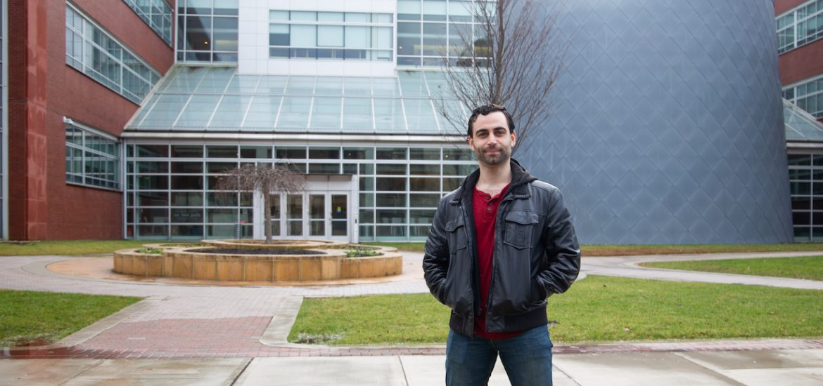 David outside Science hall