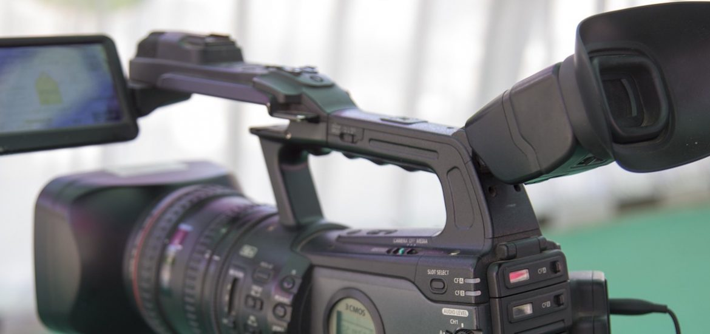 close up of video camera for a TV studio