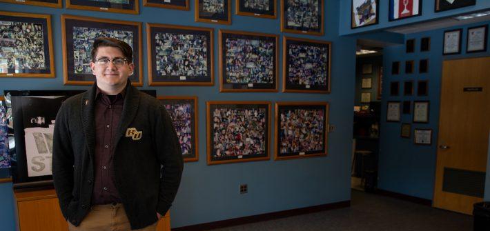 Brandon inside the Rowan Radio studio