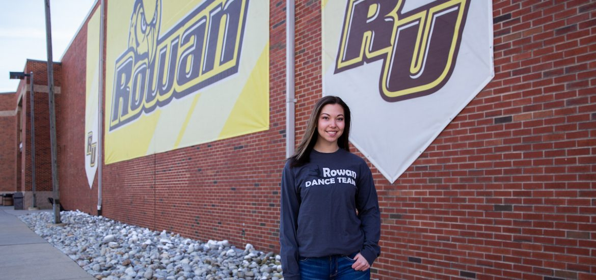 Haley outside Rowan Gym in Dance Team shirt