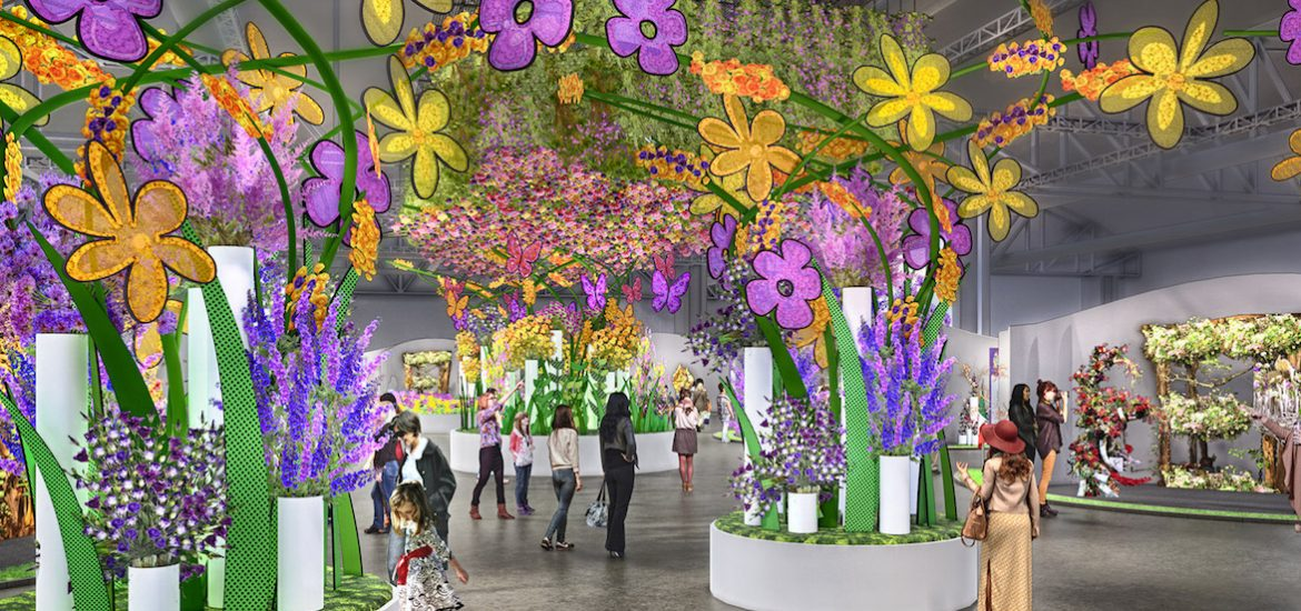 A rendering of the 2019 Philadelphia Flower Show Entrance Garden, which features nearly 8,000 flowers. — Photo courtesy GMR Design