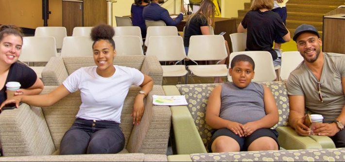 Sye'arra Dewey (PCI freshmen) with her family at orientation