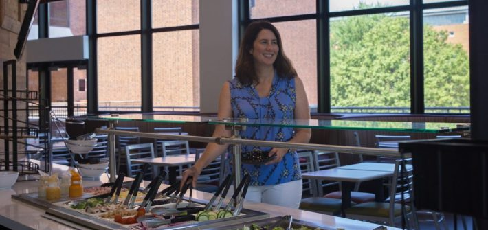 Heidi Newell in the Chamberlain Student Center Marketplace cafe