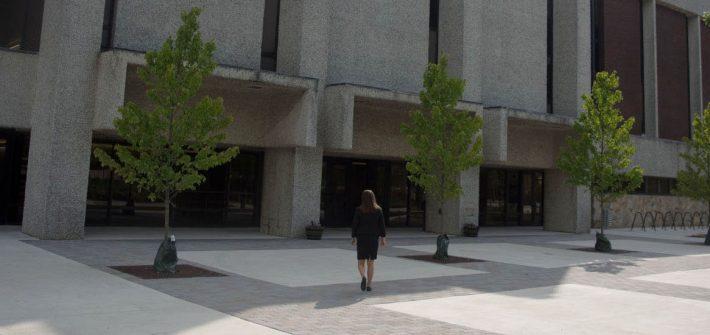 Rowan political science major Melissa Kolaski outside of Robinson Hall
