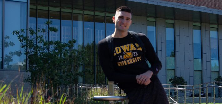 Rowan international student and marketing major Marko Minic outside Business Hall