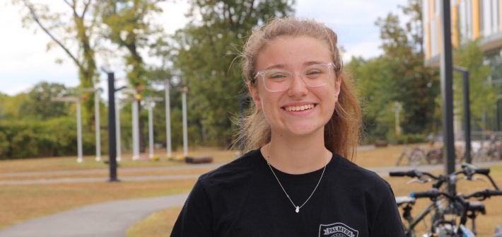 Freshman Kelly Kirk photographed outside Holly Pointe Commons