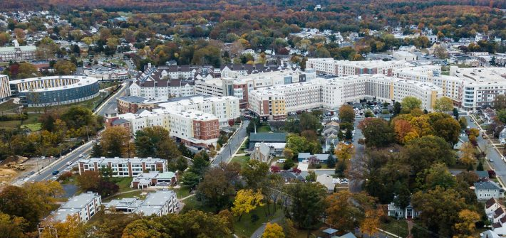 Aerial drone view of Rowan's Glassboro campus