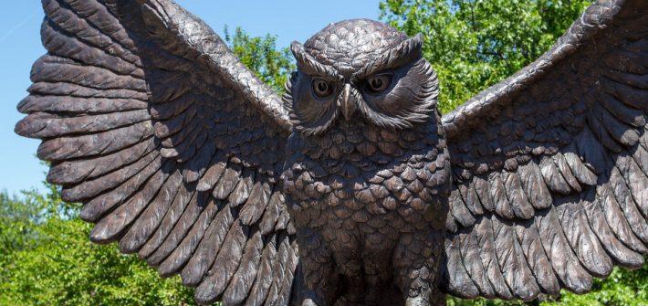 Rowan Owl statue, near where Ben and Zazu's photos were taken