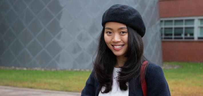 Nam Phuong Nguyen Hoang stands outside Science Hall
