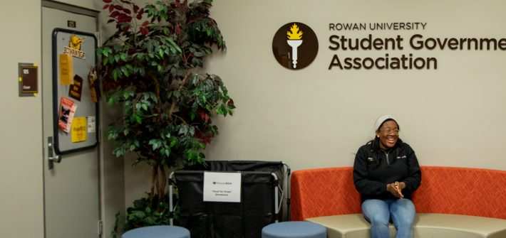 Arielle sitting in the Student Government Association office.