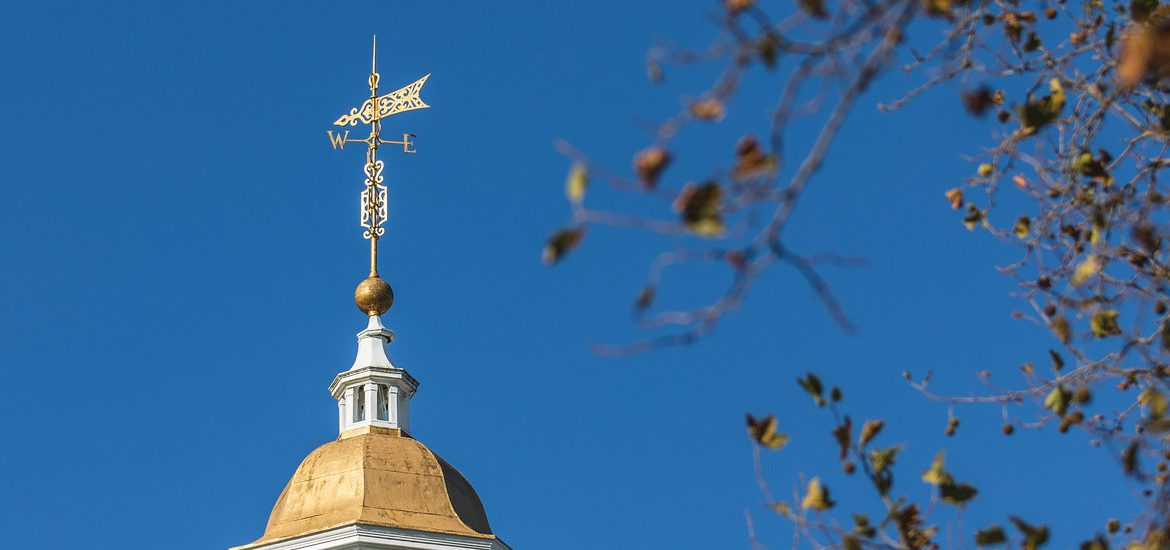 The top of Bunce Hall on a sunny day.