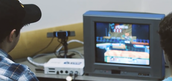 students playing a video game