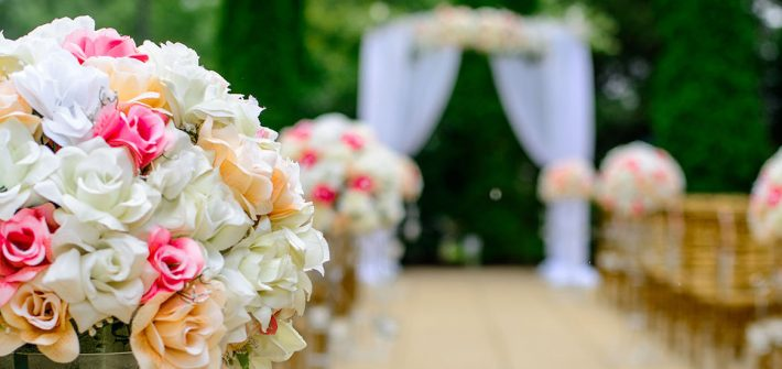 Stock photo of an outdoor wedding ceremony