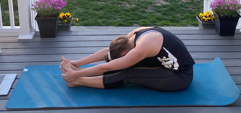 Yoga outside on my back deck.
