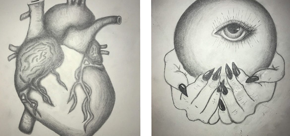 Sketches of a human heart and a crystal ball side by side.