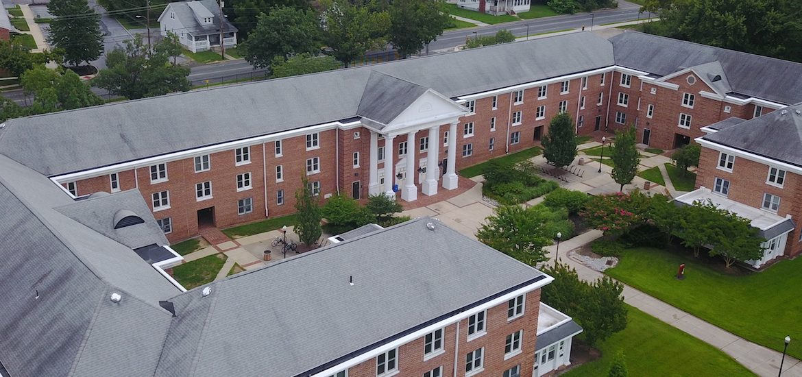 Exterior drone photo of Chestnut Hall.