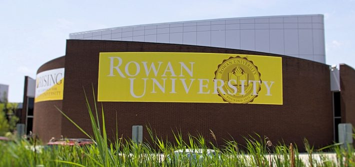 Rowan University banner outside of Wilson Hall.