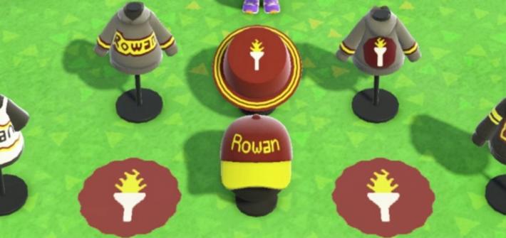 Screenshot of Animal Crossing and selection of Rowan merchandise selection