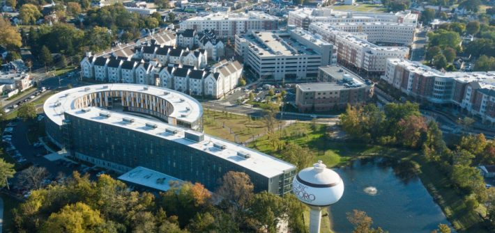 An aerial view of Rowan University's campus.
