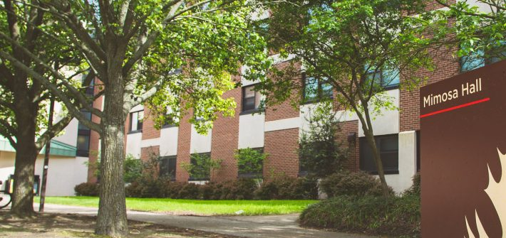 Exterior shot of Mimosa Hall