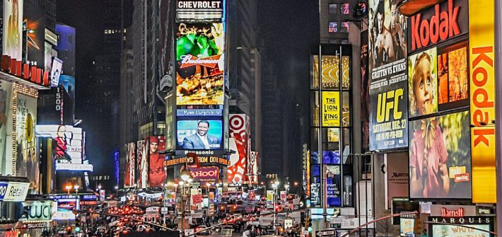 Advertisements in the city at night.