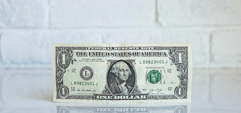 Photo of a one dollar bill.