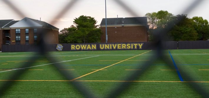 View of the intramural field through the fence.
