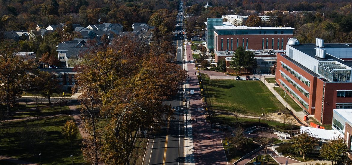 Drone shot of Route 322 portion of campus.