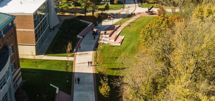 Drone shot view of Campbell Library and Savitz Hall.