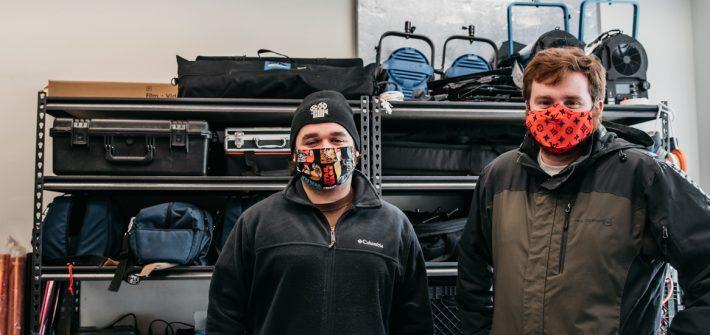 Cinema Workshop president and vice-president with masks inside.