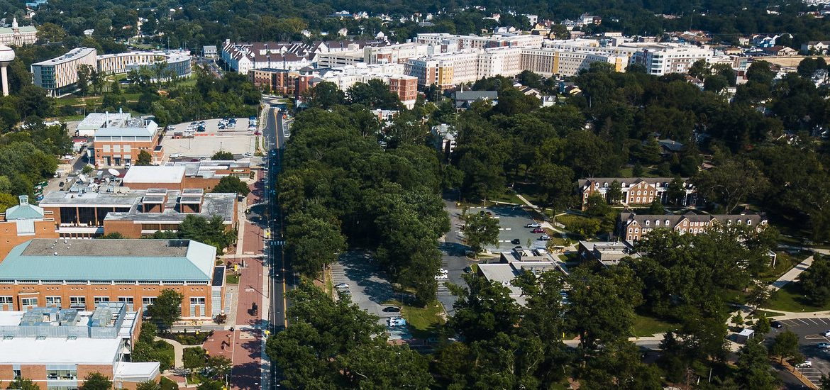 Drone shot of campus.