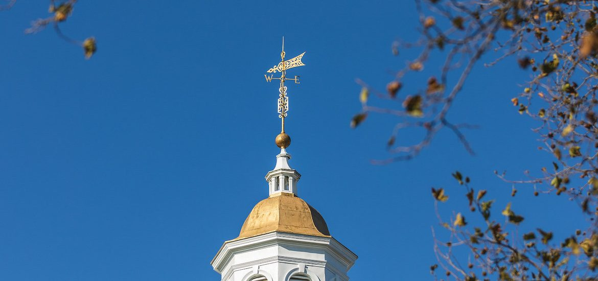 An exterior shot of the top of Bunce Hall.