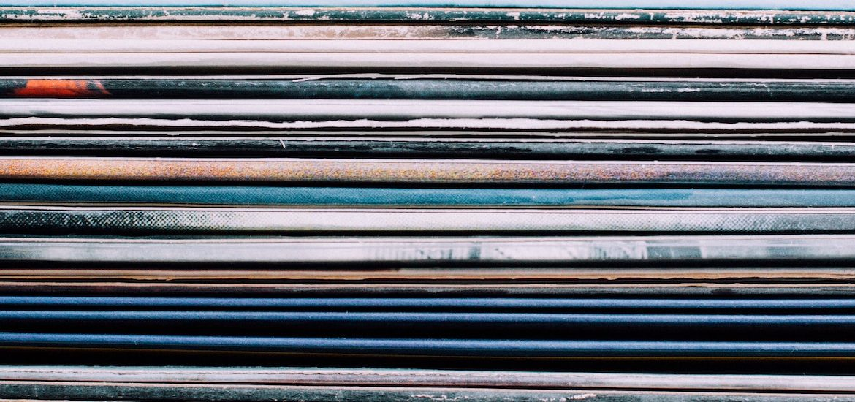 Stock photo of vinyl album covers