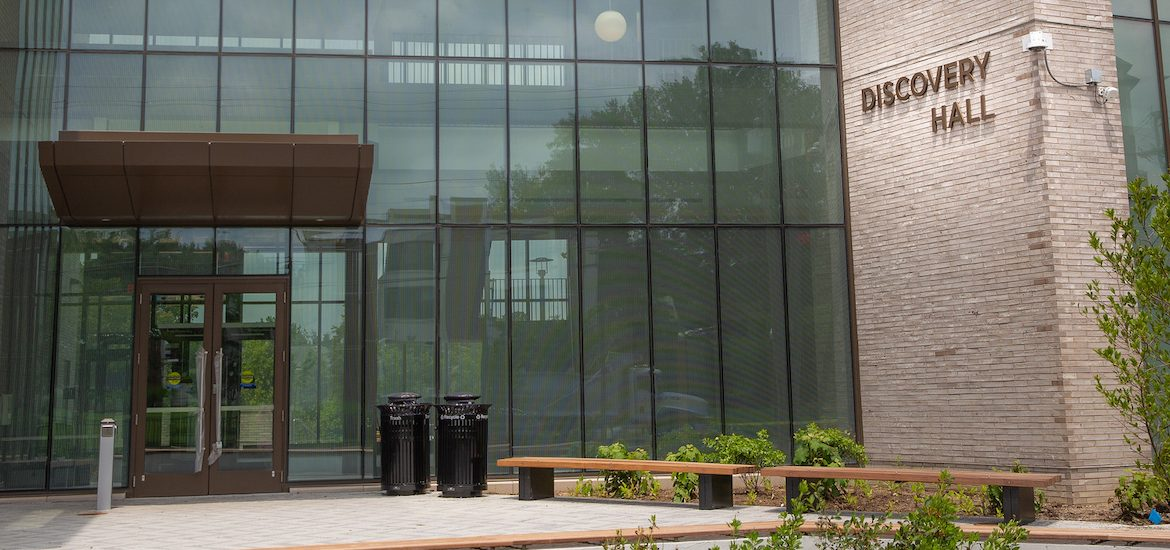 Exterior shot of Discovery Hall.